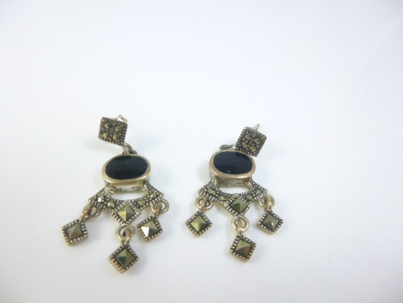 Marcasite Earrings,  Sterling Silver Dangle Earrin