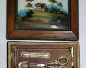 Antique Necessaire SEWING ETUI BOX w Reverse Painted Lid, Sterling Silver, Pearl Tools