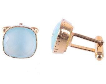 Natural Pink Chalcedony Cufflinks Chalcedony Jewelry Rose Gold Cufflinks Gem Stone Cuff links Men Gemstone Jewelry