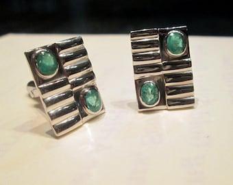 Cufflinks Men's Cufflinks 925 sterling silver with natural Emerald Gemstone Men's Cufflinks