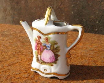 Limoges Watering Can, miniature French porcelain, white china, gold trim hand painted. Made in France. Romantic gardener ornament gift