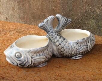 French Fish Lusterware Bowls, 2 iridescent ceramic carp, for salt & pepper or seasonings. Beach house condiments. Fishermans desk organiser.