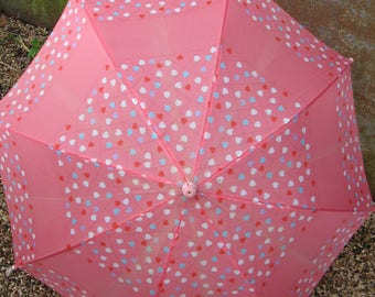 Pink Hearts Umbrella. Vintage 1960s 70s small parasol, plastic handle. Anime girl accessory. Cute Valentine gift. Good functioning condition