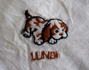 Dogs & Cat Linen Handkerchief Set. Vintage French days of week: Monday, Wednesday, Thursday, Friday, Sunday. Hand embroider puppies, kitten