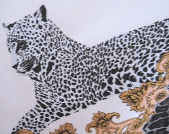 Elegant Cheetah Scarf. Vintage satin in peach and black. Retro animal print fashion.  Wild cat baroque design. Large wrap  shawl headscarf