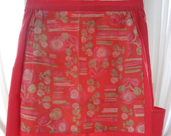 Gardening half apron, multi pockets. Quality made vintage red & floral smock. Keep clean, places for tools, gloves. Greenhouse or veg plot