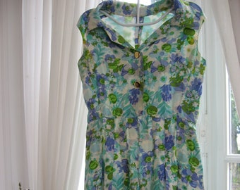 1960s French Silk Vintage Dress, green & blue flowers. Sleeveless classic retro fashion, spring summer floral clothing. Handmade, UK 12 - 14