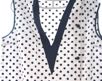 Vintage Cute Housecoat, blue polka dots on white, cleaning pinny. French womans housework smock, retro clothing protection. Made in France