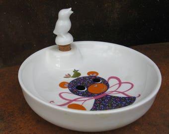 Childs Bowl, French Vintage by Pillivuyt. Baby shower gift heated food dish set. 1960 teddy bear design, bird cork. Fun little girl boy meal
