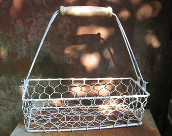 French Wire Basket, vintage rectangular metal shopping market container painted white/grey. Wooden removable handle. Country farmhouse style