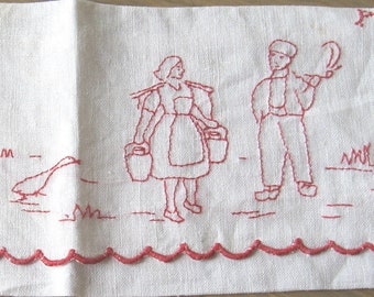 French Lingerie Bag, hand embroidered in red, linen envelope with windmill & couple in traditional costume. Quality vintage stockings pouch.