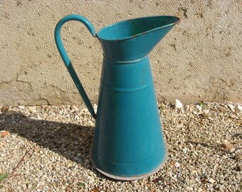 Rare French Pitcher with feet, 1930s deep turquoise blue antique enamel jug, shappy chic French country style, vintage garden flower vase.