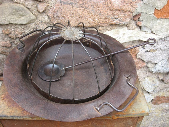 Antique Brazier Table Heater With Ember Ladle Spanish Coal Etsy
