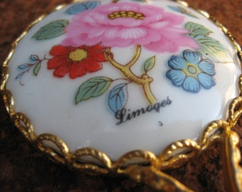 Limoges Handheld Mirror, small pocket French porcelain hand painted pink rose, white china, gold handle. Made in France handbag vanity gift.