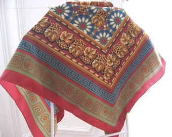 Vintage WINE LOVER SCARF by Emmanuel Laurent of Grapes and Vine Leaves. Large French rich color shawl.