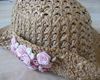 Straw Hat with Pink Roses. Vintage handmade silk flowers fascinator on tan summer bonnet brim. Large comfortable flexible quality millinery