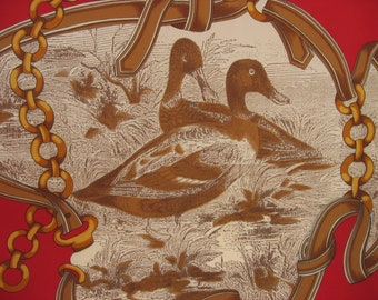 Mallard Duck Scarf by Roger Laurent, Paris, France. French vintage male & female on red with gold chains and brown ribbon large square shawl