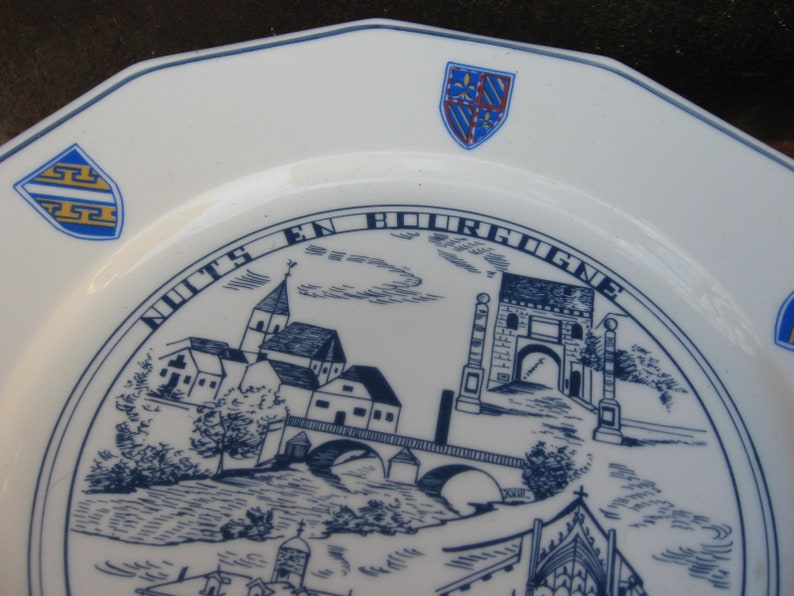 Champagne and Bourgogne village famous sites A truly unique wine lover serving gift. Vintage FRENCH HISTORIC PLATE of 2 regions