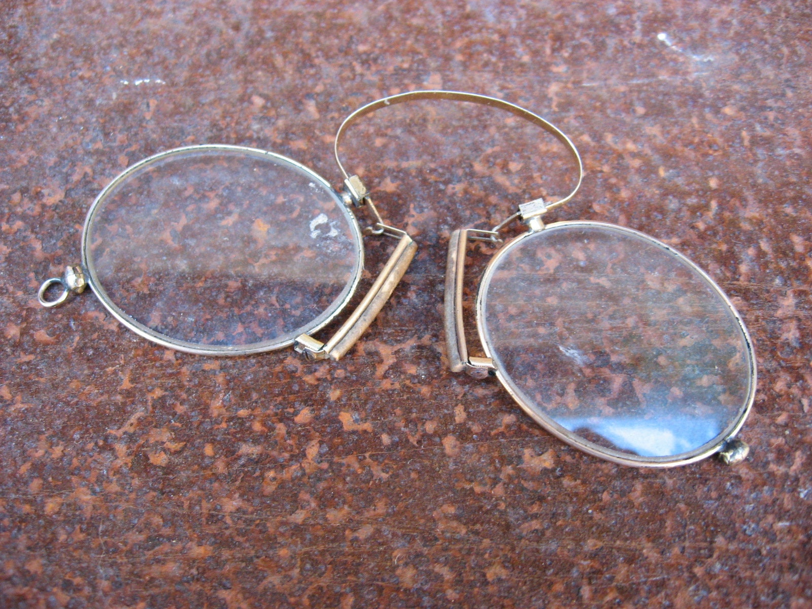 Antique FRENCH READING GLASSES with original case. Old