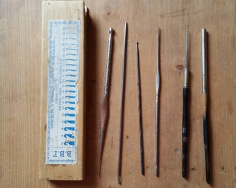 Vintage CROCHET and EMBROIDERY NEEDLES in wooden box. Varying ages, sizes, makes and styles collection from 1920s to 1960s