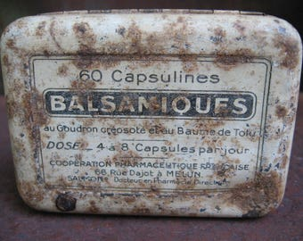 French Vintage Pill Tin, Balsamic Capsules. Pharmacy Apothecary metal hinged small old daily medicine box. Great gift man cave, craft room