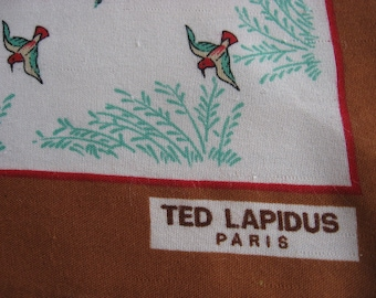 Ted Lapidus Duck Scarf from Paris, France. Vintage French brown, green, red wildfowl neck wrap. Bird lover headscarf.  Outdoor nature gift.