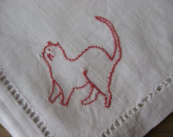 Cute Cat Embroidered Linen Handkerchief. Quality vintage cotton, red embroidery thread. Hand made and stitched edges. Kitten lover gift