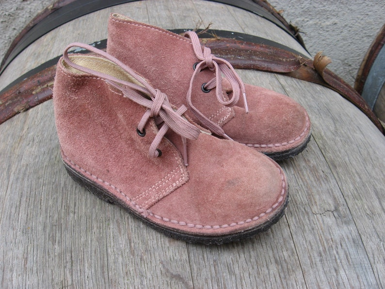 ec433e1fe64a2 Cute Little Hiking Boots from Bonpoint, Paris. Pure quality mauve suede  lace up walking shoes from France.