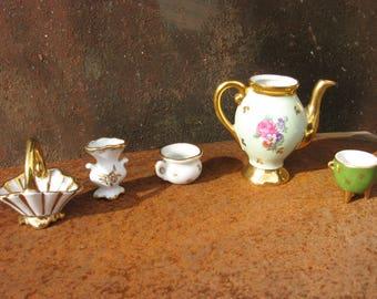 Limoges miniature Collection. French white ceramic lot; Tea pot, vase, basket, bowl, Bonne Nuit chamberpot. Handpainted porcelain of France