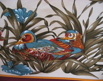 Mandarin Duck Scarf. French vintage male & female with burgundy red border. Flowers, grass, water lily