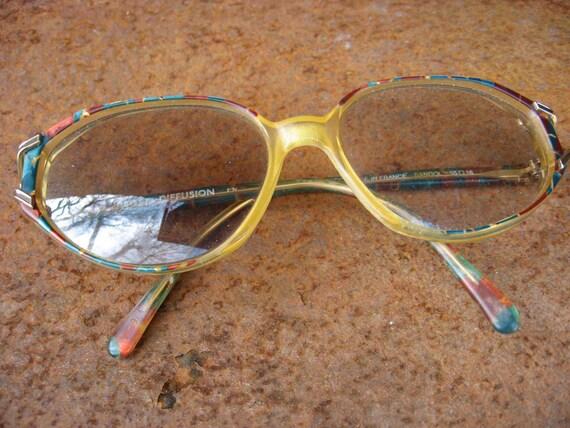 2663e76ea6 Paget Boho Eyeglasses. Mosaic frame pattern glasses. 1970s