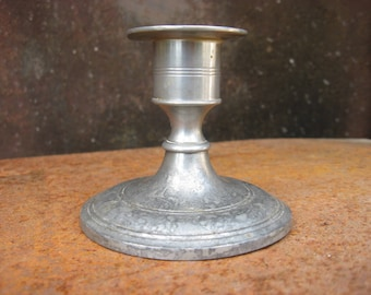 French Pewter Candlestick, Gras & Etienne hallmark. Vintage short single holder. Made in France. French country decor. Taurus zodiac symbol