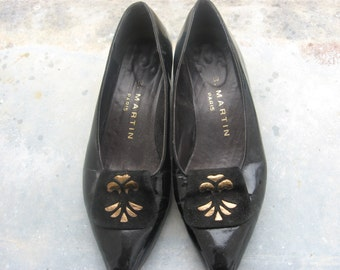 French Designer Shoes from Paris, France. Vintage 1960s J B Martin Couture, black patent leather suede, gold detail. Size: 36 EU/5 US/3.5 UK