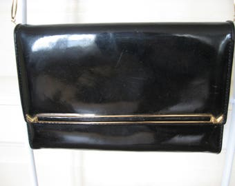 1960s Patent Leather Handbag, suede, cloth interior, mid century purse in great condition from France. Gold metal trim & link shoulder strap