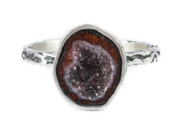 Simple baby agate geode ring, minimalism, silver