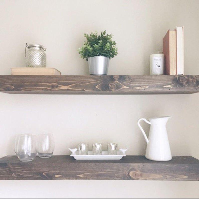 FREE SHIPPING  Floating Shelves  Wood Shelf  Bathroom Shelf Jacobean
