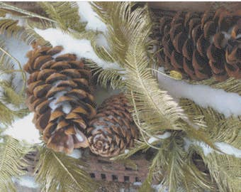 Evergreens and Pine Cones, Winter Greenery, Woodland Snowy Pine Branches, Wintery Pinecones and Greens Counted Cross Stitch Pattern