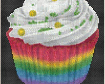Rainbow Cupcake, Colorful Celebration Dessert, Yummy Cheerful Treat, Sweet Rainbow Birthday Gift Counted Cross Stitch Pattern