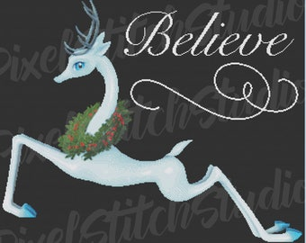 Elegant Blue Reindeer with Holly Wreath, Believe in Christmas, Christmas Magic, Holiday Dreams Counted Cross Stitch Pattern