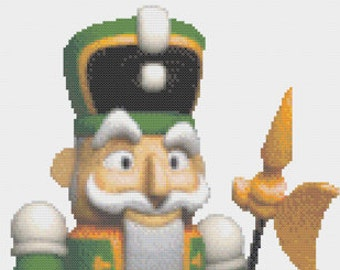 Cute Green Nutcracker, Wooden Military Christmas Doll, Holiday Solider Doll Counted Cross Stitch Pattern