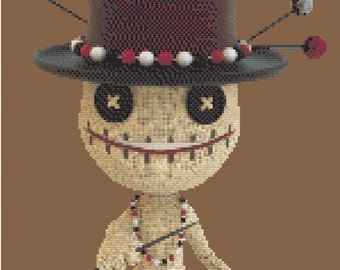 Voodoo Doll Engarde, Samedi Doll in Top Hat, Witchcraft Stick Pin Doll, Hex on You JuuJuu Doll Counted Cross Stitch Pattern
