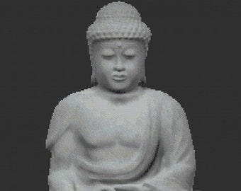 Stone Buddha, Mystical Sacred Statue of Buddhism Cross Stitch Pattern