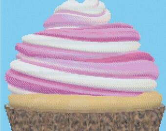 Pink and Leopard Cupcake Cross Stitch Pattern
