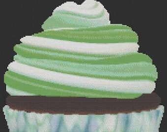 Green Swirl Cupcake Cross Stitch Pattern
