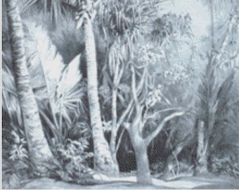 Deserted Tropical Beach in Gray Scale, Artistic Secluded Beach Scene, Tropical Palm Trees in Black and White Counted Cross Stitch Pattern