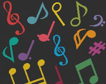 Colorful Music Note Jumble, Rainbow Musical Montage, Simple Cheerful Music Notations Counted Cross Stitch Pattern