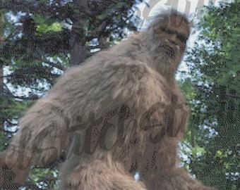 Elusive Bigfoot, Legendary Sasquatch, Mysterious Yeti, Mountain Monster, Mythic Hairy Creature Counted Cross Stitch Pattern