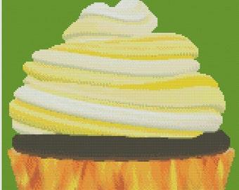 Yellow Fiery Cupcake Cross Stitch Pattern