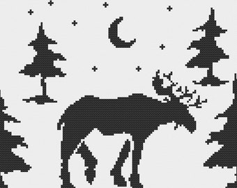 Silhouette Moose in the Nighttime Woods, Simple Black and White Woodland Animal Profile Scene Counted Cross Stitch Pattern