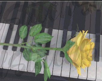 Yellow Rose on a Piano, Musical Love Story, Romance Music and Yellow Rose Tableau Counted Cross Stitch Pattern